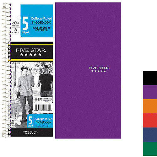 Mead Five Star 5-Subject Notebook, Eight Pockets, College Rule, 200 Sheets, Colors May Vary