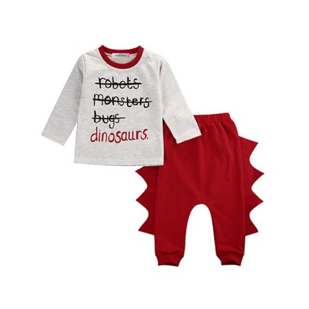StylesILove Little Boy Cute Character Print Long Sleeve Cotton Top and Dinosaur Elastic Baggy Pants 2 pcs Outfit (100/4-5 Years)](Dinosaur Outfits)