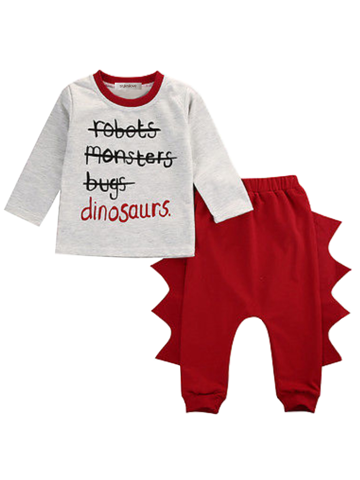 StylesILove Little Boy Cute Character Print Long Sleeve Cotton Top and Dinosaur Elastic Baggy Pants 2 pcs Outfit (100/4-5 Years)
