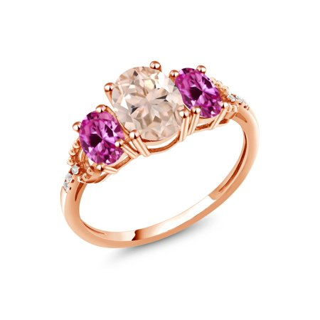 2.04 Ct Peach Morganite Pink Created Sapphire 10K Rose Gold Diamond Accent Ring