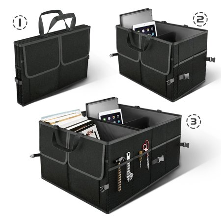 Black Collapsible Car Trunk Organizer Truck Cargo Portable Tools Folding Storage Bag Case Space Saving Auto Boot Organiser - image 1 of 4