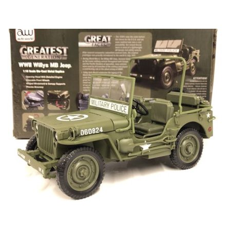Green Wwii Willys Mb Jeep 1:18 Scale Die Cast Car - image 1 de 1