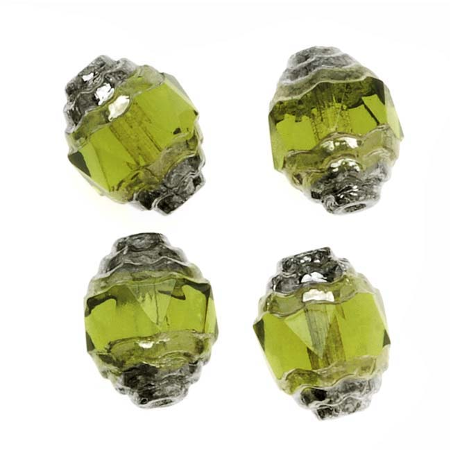 Czech Cathedral 10mm Art Deco Beads Olivine Silver Ends (10)