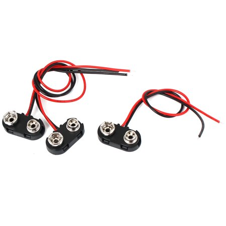 3 Pcs 9V Battery Clip Connector T Type Holder Buckle Double  Wire 15cm (Wire Lead Type)