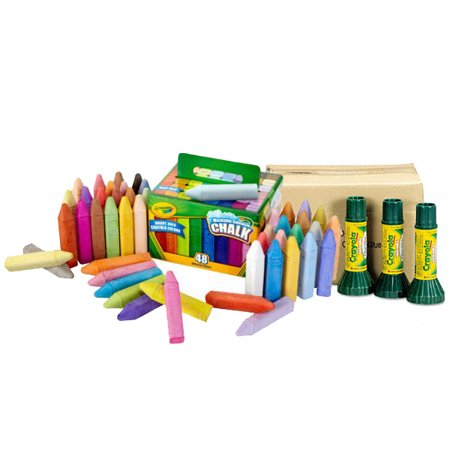 Crayoal 48 Pack of Chalk and 12 Pack of Washable Glue Bundle