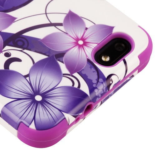 Kaleidio Case For ZTE Blade Force N9517 [TUFF Armor] Impact Protective Hybrid [Shockproof] 3-Piece Dual Layer Rubber Cover w/ Overbrawn Prying Tool [Purple Hibiscus Flowers]