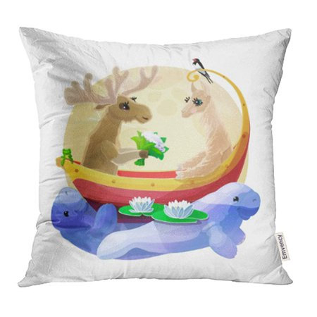 Woodland Faries (ARHOME Animals Nursery Wall Cartoon Characters Fairy World Woodland Story Graphic White 13 Pillow Case Pillow Cover 18x18 inch Throw Pillow)