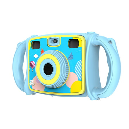 "2"" LCD Screen Kids Anti-drop Digital Camera, Dual Cameras CMOS Image sensor, Selfie, 4X digital zoom, with 2 handles & Neck Lanyard"