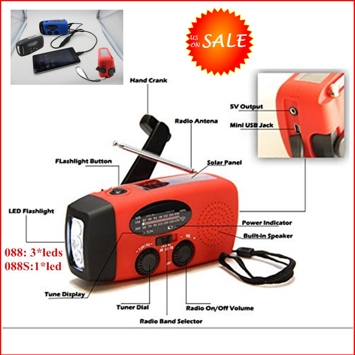 Red Weather Radio Emergency Hand Crank Radio Generator Solar AM/FM/WB Weather Radio Flashlight ch arger