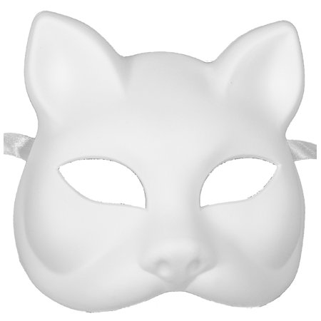 WHITE CAT MASK - Blank Arts and Crafts Masks - VENETIAN - Cheshire Cat Halloween Mask