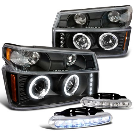 (Spec-D Tuning 6Pcs 2004-2012 Chevy Colorado Clear Halo Projector Headlights + Led Drl Fog Lights (Left + Right) 04 05 06 07 08 09 10 11 12)