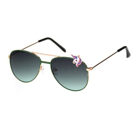 Child Size Girly Unicorn Jewel Badge Trim Pilots Sunglasses Gold Green Green](Mint Green Sunglasses)