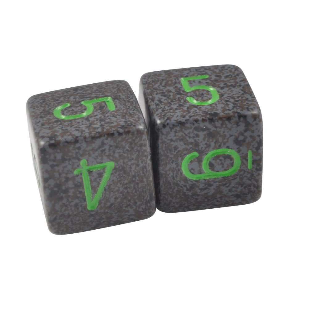 Pack of 2 - 6 Sided Numeral Dice Black Earth & Green in Snow Organza Bag
