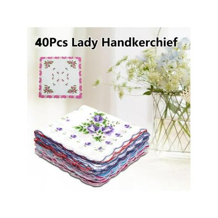 40Pcs Ladies Women Floral Flowers Cotton Handkerchief Quadrate Pocket Square Hanky Best Gift