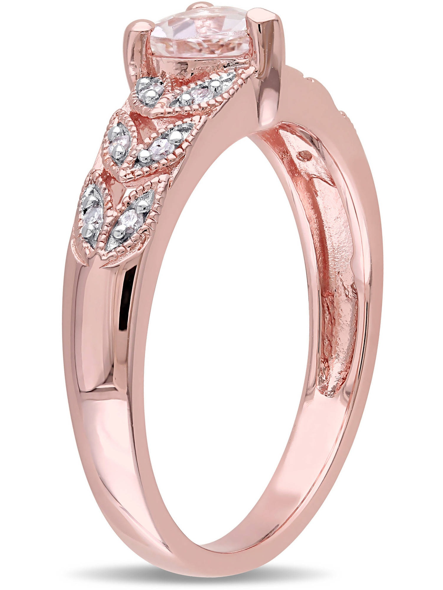Tangelo 1/2 Carat T.G.W. Morganite and Diamond-Accent Pink Rhodium ...