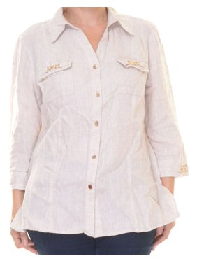 34ca718cc0552 Product Image JM Collection Women s Linen Shirt Size 14