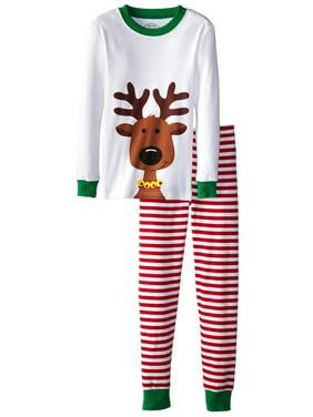 Sara's Prints Unisex Kids Long John Pajamas, Red Stripe/Reindeer, Size: 8