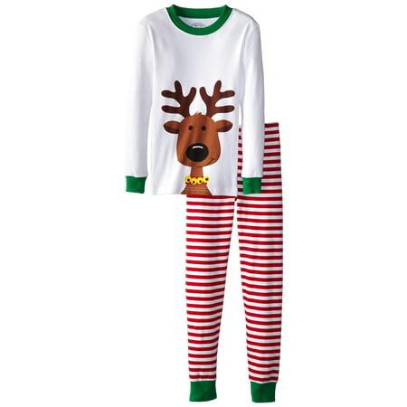 Monkey Print Pajama - Sara's Prints Unisex Kids Long John Pajamas, Red Stripe/Reindeer, Size: 8