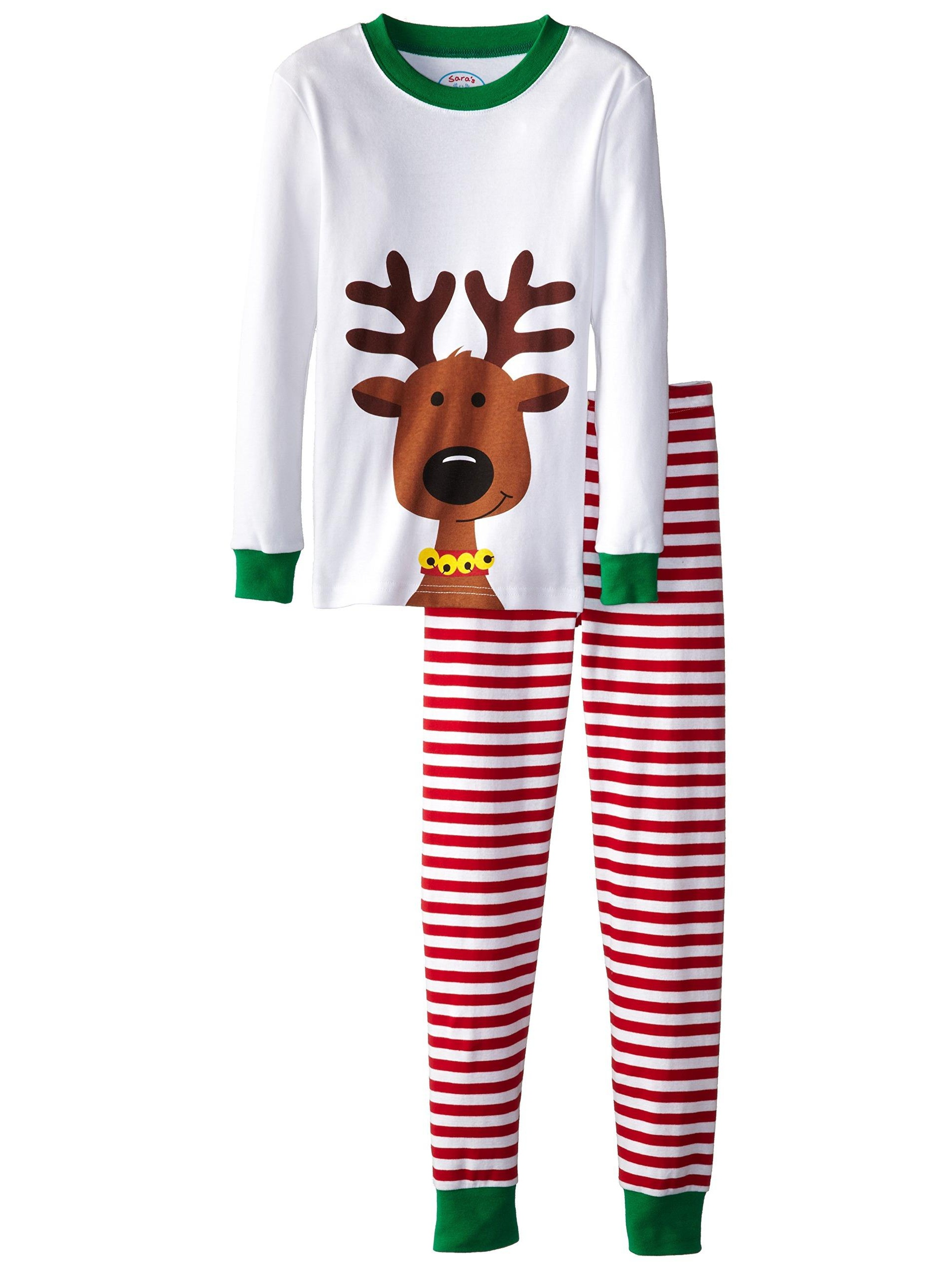 Sara's Prints Unisex Kids Long John Pajamas, Red Stripe/Reindeer, Size: 8