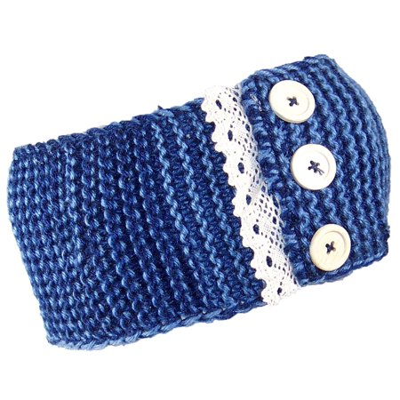 Best Winter Hats Womens Two Tone Garter Stitch Knit Headband W/Lace (One Size) -