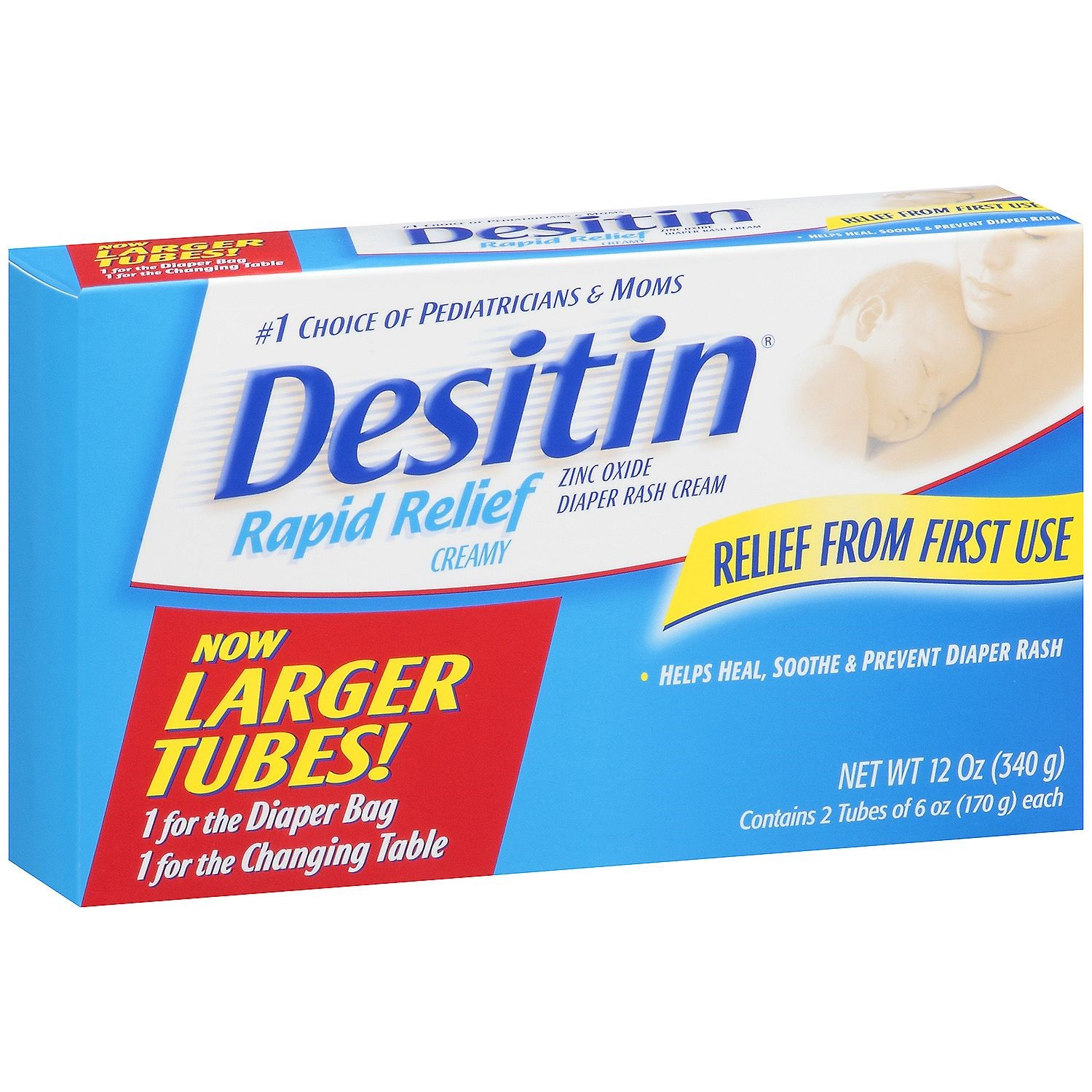 Desitin Rapid Relief Cream, 6 Oz Tubes, 2 Ct