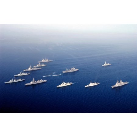 Ships Hull - Ships and Rigid Hull Inflatable Boats assemble in formation Poster Print by Stocktrek Images