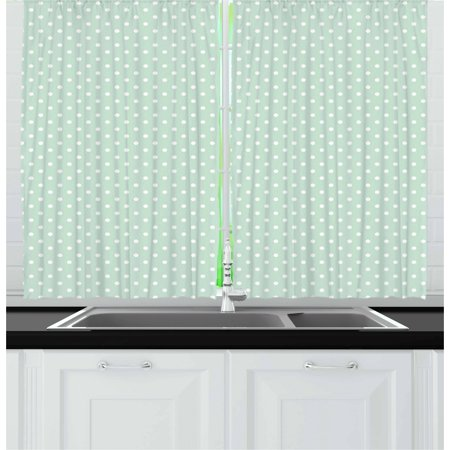 - Green Curtains 2 Panels Set, Retro Style Baby Nursery Themed Pattern with Little White Polka Dots Pastel, Window Drapes for Living Room Bedroom, 55W X 39L Inches, Mint Green White, by Ambesonne