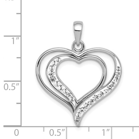 925 Sterling Silver Rhodium Plated Stellux Crystal Heart Shaped Pendant - image 1 of 2