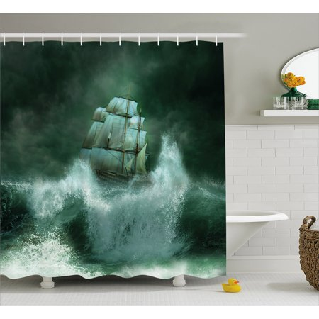 Pirate Ship Shower Curtain Old In Thunderstorm Digital Artwork Fantasy Adventure Fabric Bathroom Set With Hooks Jade Green Dark White