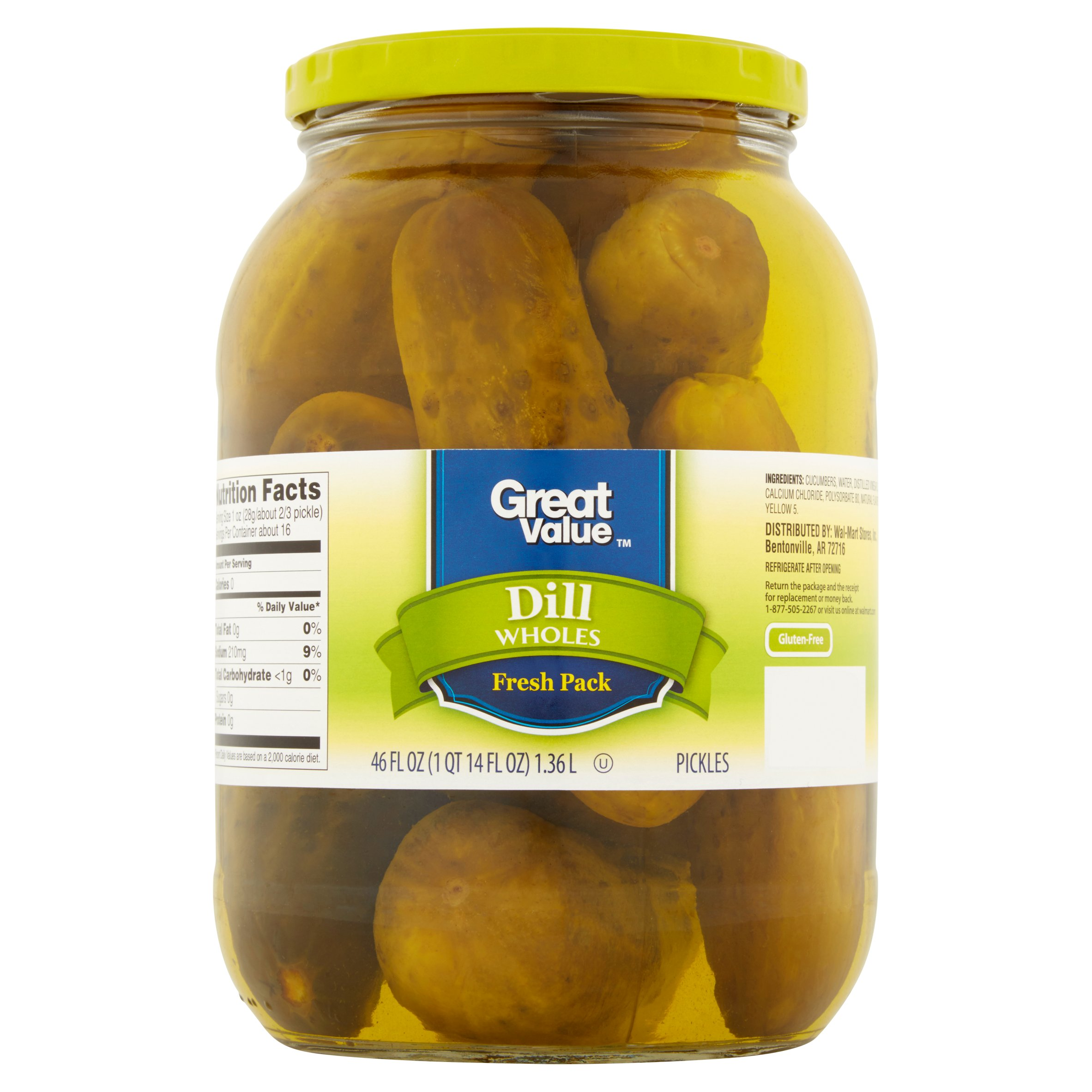 Great Value Whole Dill Pickles 46 fl. oz. Jar by Wal-Mart Stores, Inc.