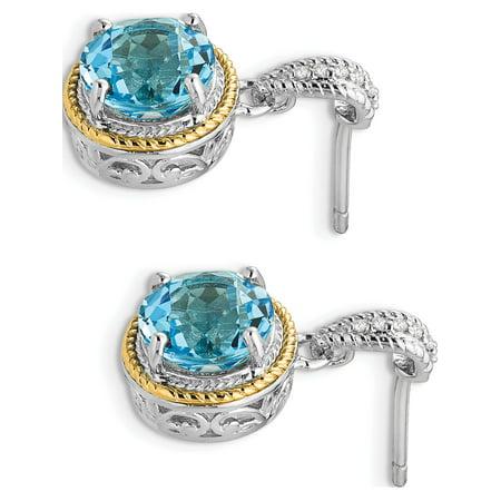 14k / argent deux tons avec / y Boucles d'oreilles topaze bleue diamant apr?s Dangle (11x20mm) de - image 1 de 3