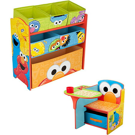 Sesame Street Desk and Multi Bin Organizer Bundle with Wall Decals ()