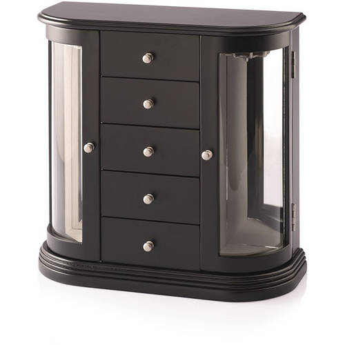 Jewelry Box with Glass Doors, Black