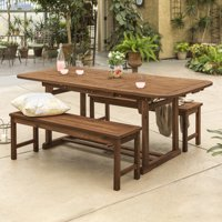 Manor Park 3-Piece Acacia Wood Outdoor Patio Dining Set - Dark Brown