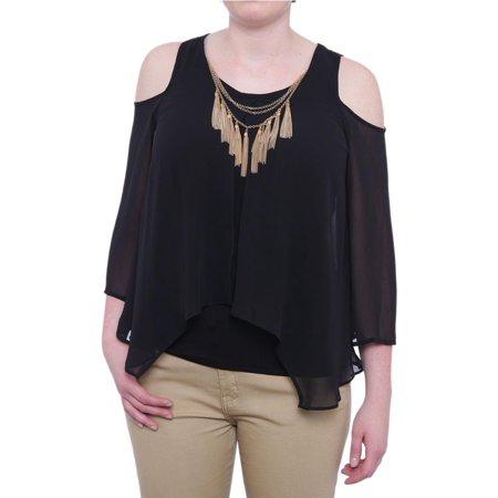 bb4341885a1d31 Thalia Sodi - Thalia Sodi Cartagena Cold-Shoulder Necklace Blouse Women  Regular Blouse - Walmart.com