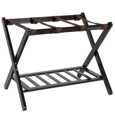 Best Choice Products Folding Luggage Rack w/ Shelf, Nylon Straps, 110lb Capacity - Brown