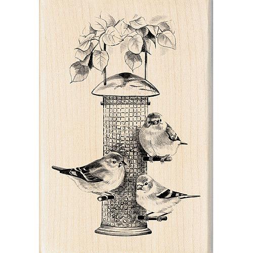 "Inkadinkado Mounted Rubber Stamp, Birds Feeder 4"" x 2.75"""