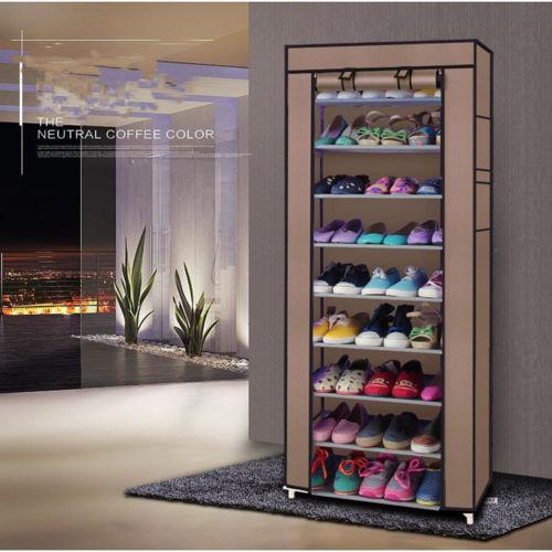 Ktaxon Shoe Rack Non Woven Fabrics Large Shoe Cabinet Organizer Removable  Shoe Storage 10 Layer 9 Grid