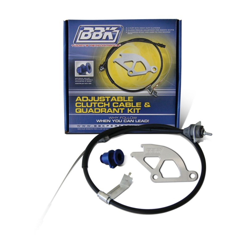 BBK PERFORMANCE 15055 79-95 FORD MUSTANG ADJUSTABLE CLUTCH CABLE - ALUMINUM QUADRANT & FIREWALL ADJUST