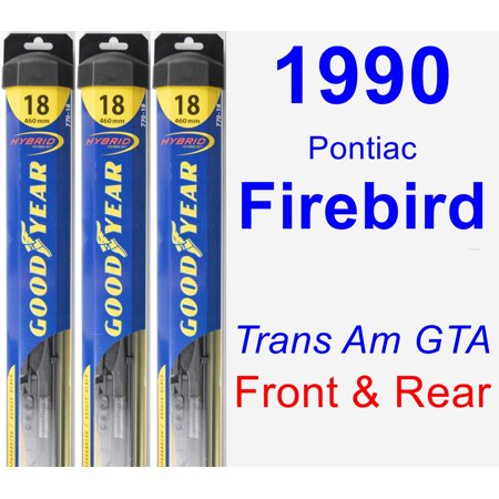 1990 Pontiac Firebird Formula - 1990 Pontiac Firebird (Trans Am GTA) Wiper Blade Set/Kit (Front & Rear) (3 Blades) - Hybrid
