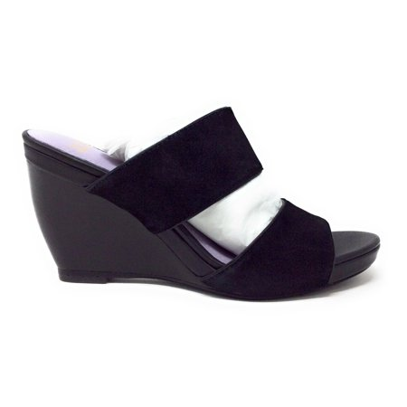 Johnston & Murphy Womens Nisha Wedge Slide Sandal Black Suede Nappa Size 6 M