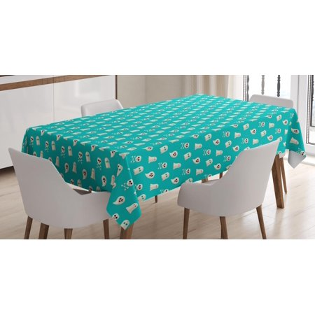 Ghost Tablecloth, Scary Ghost Spirits Skulls and Bones on Turquoise Shade Halloween Party, Rectangular Table Cover for Dining Room Kitchen, 60 X 84 Inches, Turquoise and Eggshell, by - Ghost Writing Book Spirit Halloween