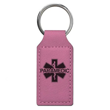 Keychain - Paramedic - Personalized Engraving Included (Pink Rectangle)
