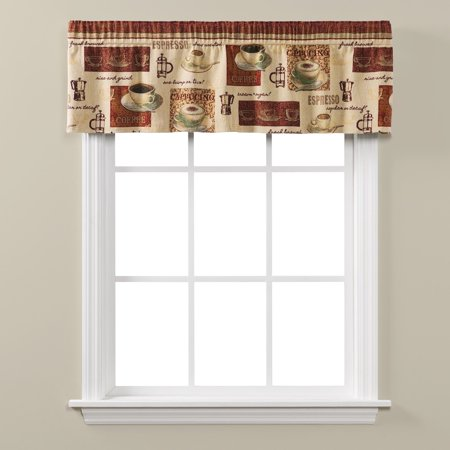 "Saturday Knight Ltd Coffee Talk Woven Tapestry Window Valance With 1.5"" Rod Pocket - 56x13"" Earthtones"