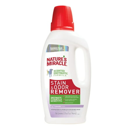 Nature's Miracle Dog Stain & Odor Remover, Lavendar Scent, Pour, 32 oz (Lavender Pouf)