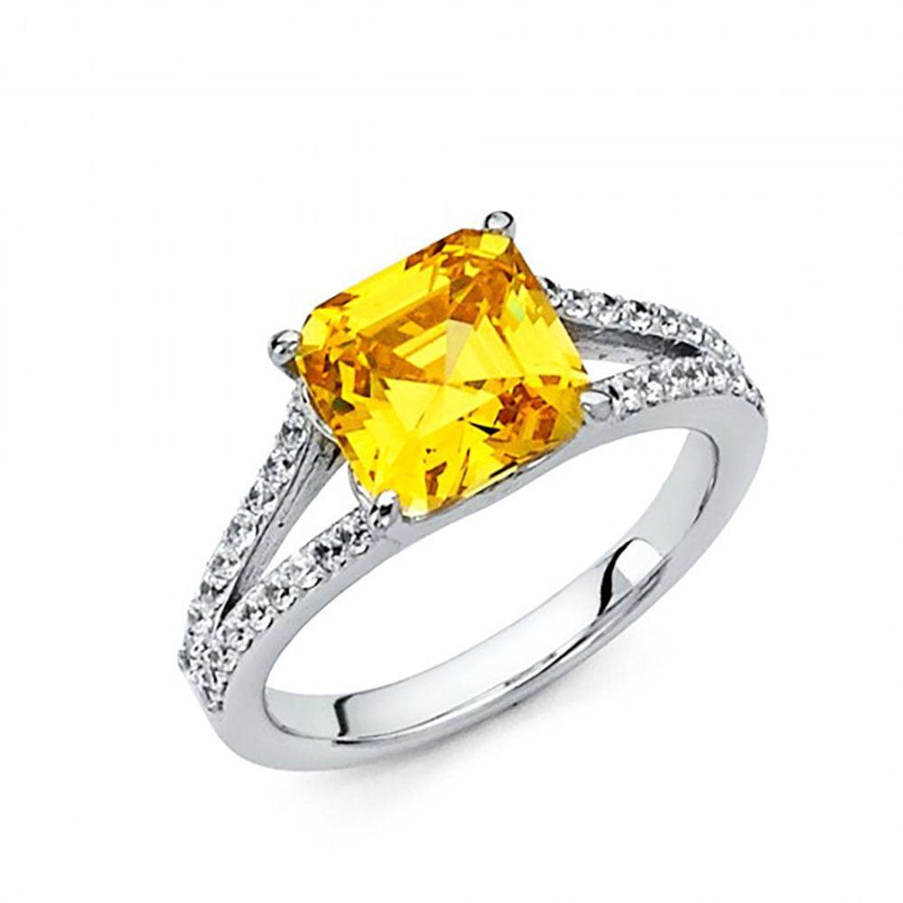 14k White Gold Fancy Yellow Asscher CZ Split Shank Pave E...