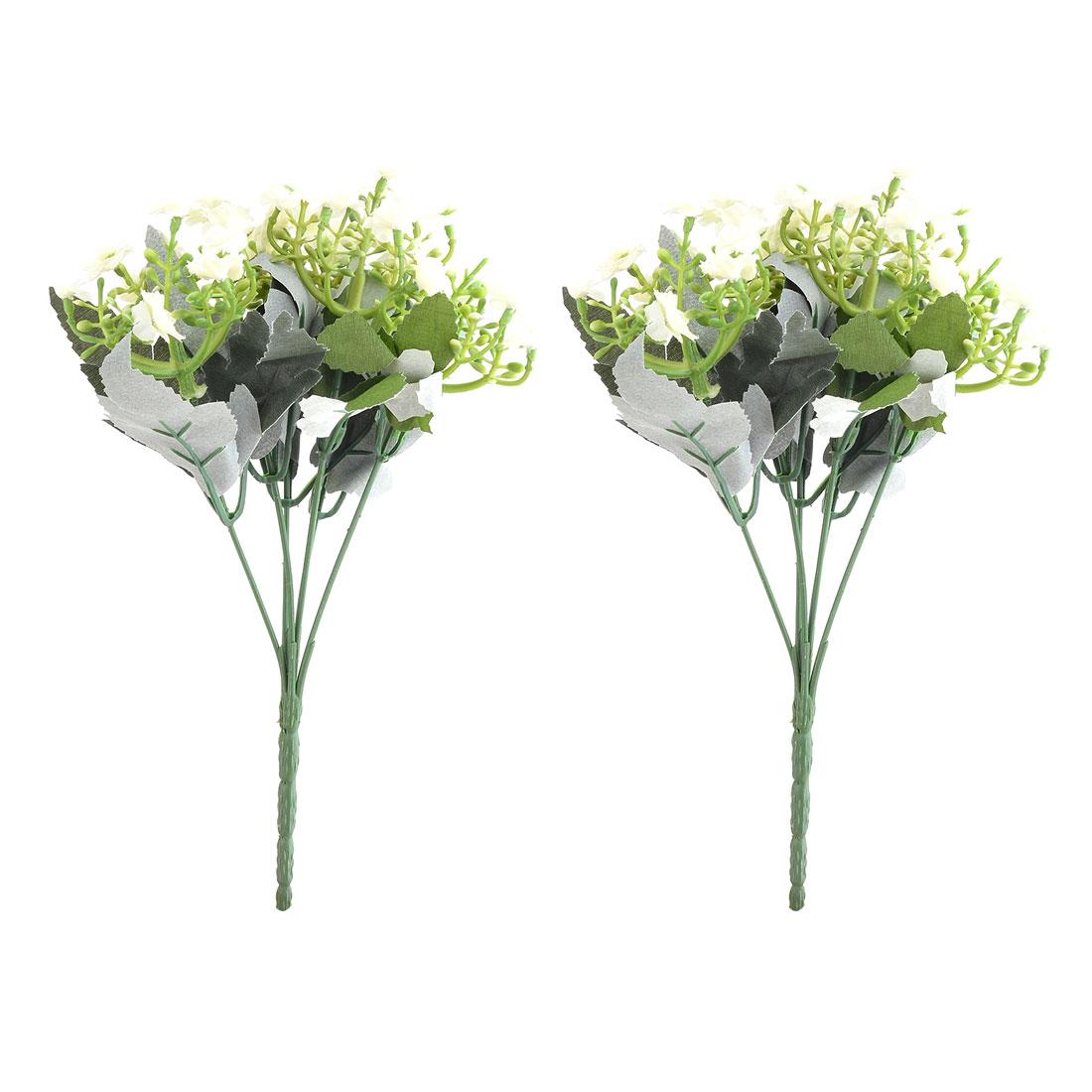 Wedding Fabric Buds Craft Emulational Artificial Flower Bouquet Decor Beige 2pcs