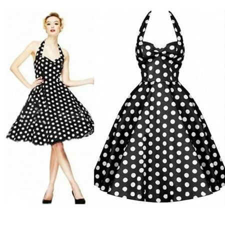 50s 60s Fashion Housewife Women's Polka Dot Swing Pinup Vintage Rockabilly Dress