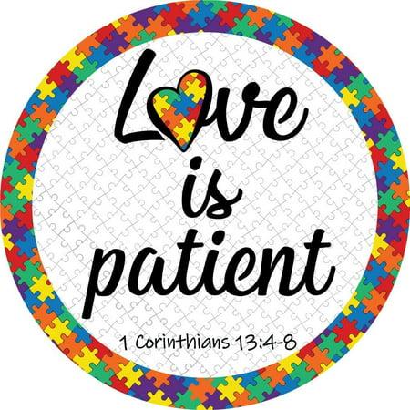 Corinthians 13:4-8 Love is Patient Autism Puzzle Round Car Magnet Bumper Decal, 5 1/2 Inch