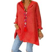 Plus Size Polka Dot Tops Women Roll Up Sleeve Casual Buttons Down Neck Blouse Shirt Tunic T-Shirt Loose Baggy Shirt